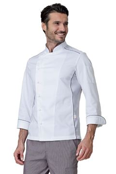 ΣΑΚΑΚΙ ΣΕΦ SIGGI HORECA ADRIAN CHEF JACKET WHITE GREY