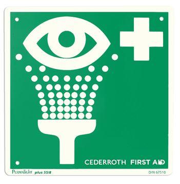 Πινακίδα σήμανσης σταθμού Α' βοηθειών Eye wash CEDERROTH 1740