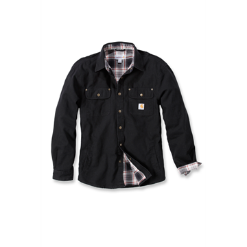 WEATHERD CANVAS SHIRT JACKET BLACK - CARHARTT