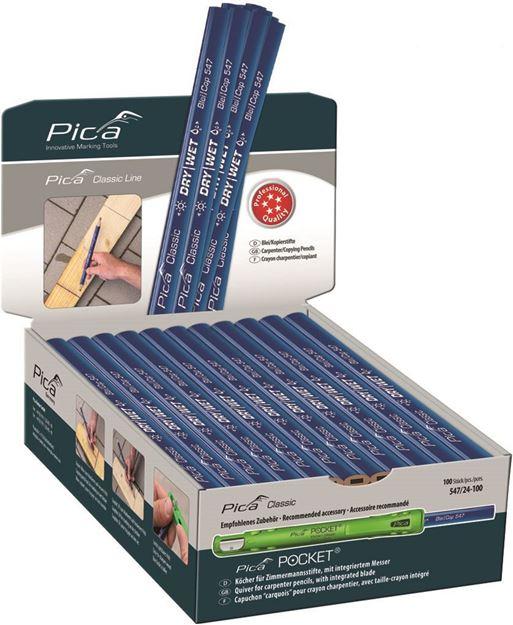 ΜΟΛΥΒΙ PICA CLASSIC Carpenter / Copying Pensil Dry Wet 547  24 εκ - 100 Τεμάχια