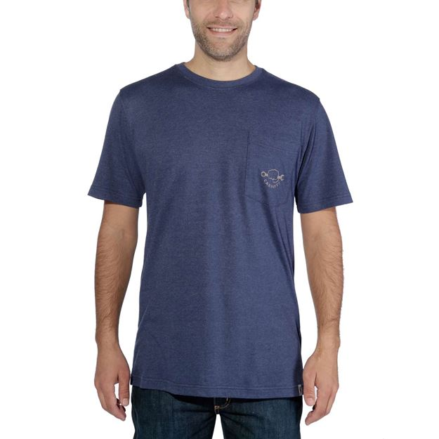 ΜΠΛΟΥΖΑΚΙ CARHARTT MADDOCK STRONG GRAPHIC POCKET SHORT SLEEVE T-SHIRT INDIGO HEATHER