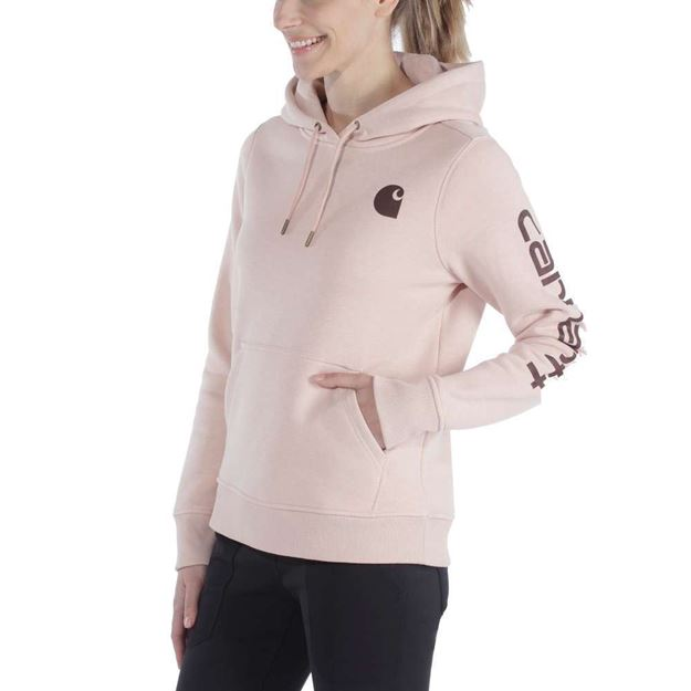ΓΥΝΑΙΚΕΙΑ ΜΠΛΟΥΖΑ CARHARTT CLARKSBURG SLEEVE LOGO HOODED SWEATSHIRT 102791 ROSE SMOKE HEATHER