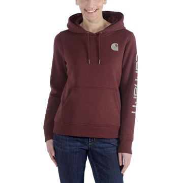 ΓΥΝΑΙΚΕΙΑ ΜΠΛΟΥΖΑ CARHARTT CLARKSBURG SLEEVE LOGO HOODED SWEATSHIRT 102791 DARK CEDAR HEATHER