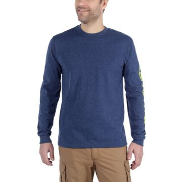 LOGO LONG SLEEVE T-SHIRT EK231 COBALT BLUE - CARHARTT