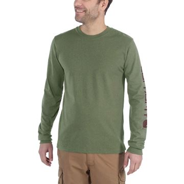 LOGO LONG SLEEVE T-SHIRT EK231 OLIVINE HEATHER - CARHARTT