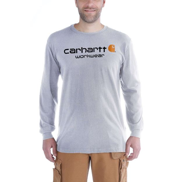 T-SHIRT CORE LOGO LONG SLEEVE HEATHER GREY 102564 - CARHARTT