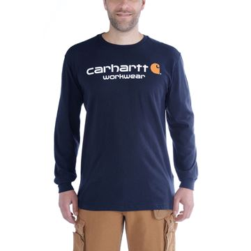 T-SHIRT CORE LOGO LONG SLEEVE 102564 NAVY - CARHARTT