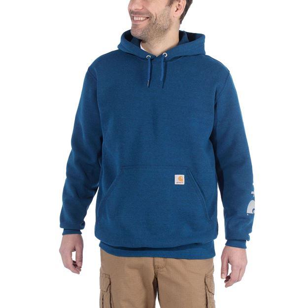 ΜΠΛΟΥΖΑ MIDWEIGHT SLEEVE LOGO HOODED K288 BOLD BLUE - CARHARTT