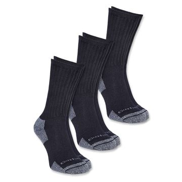 ΚΑΛΤΣΕΣ (Σετ 3 Ζεύγη) ALL SEASON COTTON CREW WORK SOCKS A62 BLACK - CARHARTT