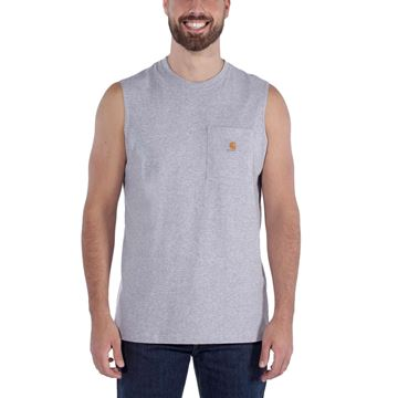 WORKWEAR POCKET SLEEVELESS T-SHIRT 100374 GREY - CARHARTT