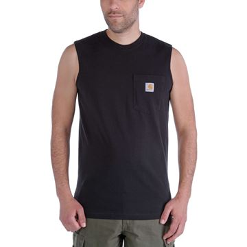 WORKWEAR POCKET SLEEVELESS T-SHIRT 100374 BLACK- CARHARTT