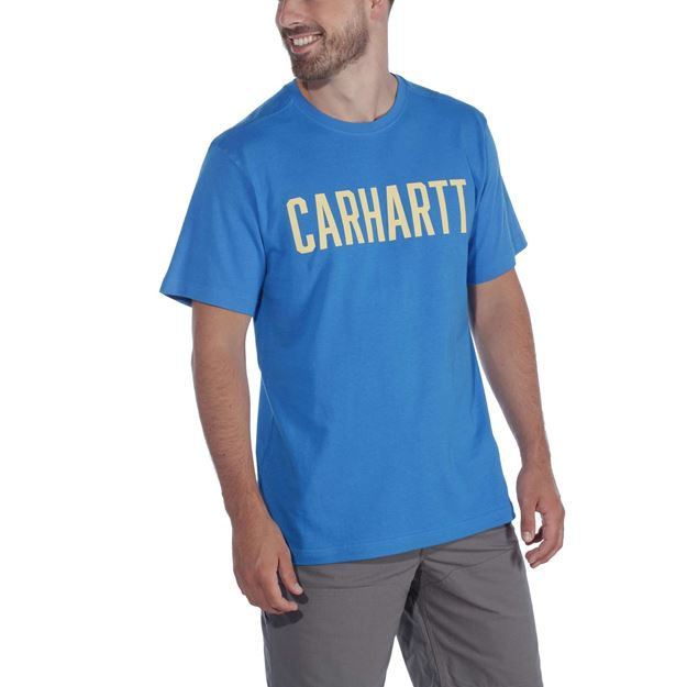ΜΠΛΟΥΖΑΚΙ CARHARTT 104267 BLOCK LOGO T-SHIRT BOLT BLUE