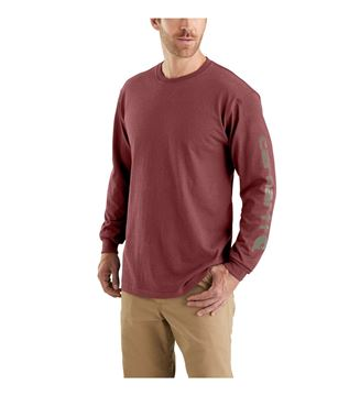 LOGO LONG SLEEVE T-SHIRT EK231 IRON ORE HEATHER - CARHARTT