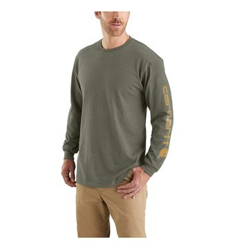LOGO LONG SLEEVE T-SHIRT EK231 WINTER MOSS HEATHER - CARHARTT