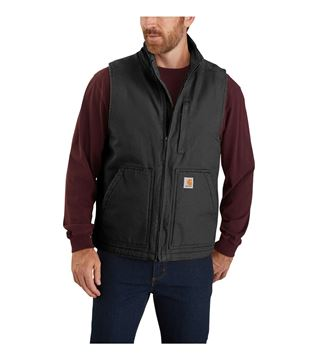 ΓΙΛΕΚΟ ΕΡΓΑΣΙΑΣ WASHED DUCK SHERPA LINED MOCK NECK VEST 104277 BLACK - CARHARTT