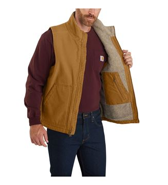 ΓΙΛΕΚΟ ΕΡΓΑΣΙΑΣ WASHED DUCK SHERPA LINED MOCK NECK VEST 104277 BROWN - CARHARTT