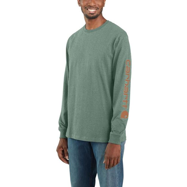 ΜΠΛΟΥΖΑ LOGO LONG SLEEVE T-SHIRT EK231 LEAF GREEN HEATHER - CARHARTT