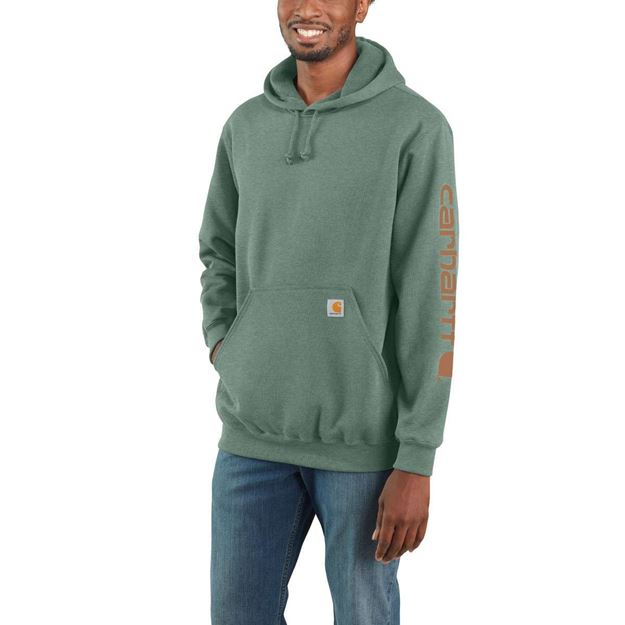 ΜΠΛΟΥΖΑ MIDWEIGHT SLEEVE LOGO HOODED K288 LEAF GREEN HEATHER - CARHARTT